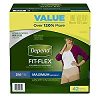 Depend Incontinence Maximum Absorbency Protective Underwear for Women, Small/Medium, 42 Count by Depend