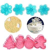 & # xff08;セットof 8& # xff09;最も簡単なクリスマスシリーズクッキーのEverカッターセット、クリスマスツリー、キャンディ、雪だるま、スノーフレークCupcake Decorating Gumpaste Fondant Mould