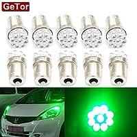 GeTor 10個セットS25 1156 BA15S P21W シングル球 9連LED サイドマーカー球 ナンバー灯 トラック グリーン (緑, 1156(24V))
