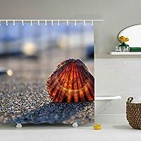 シャワーカーテン Seashells Sand Light 防水 防カビ加工 カーテン 特別なデザイン バスルーム 間仕切りにも バスルーム プラスチックフック付属 お風呂 洗面所 間仕切り 洗濯可能