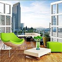 Hwhz シティバルコニー3D風景の背景壁画モダンデザイン家の装飾壁紙壁紙ロール-280X200Cm