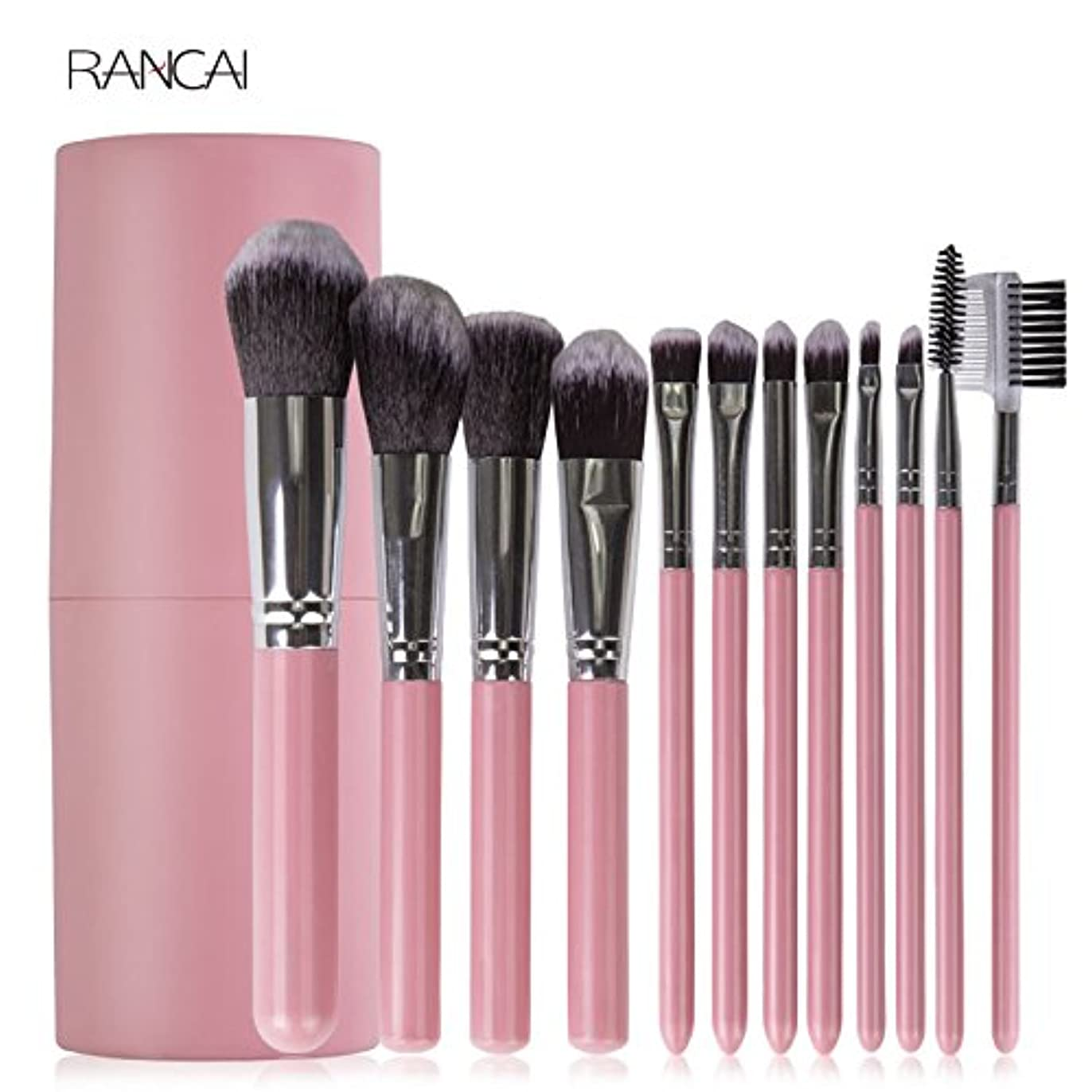 オーディションうまれた無一文12pcs Pink Makeup Brushes Set Face Powder Foundation Contour Blush Eyebrow Brush & Comb Pincel Maquiagem with Cylinder Case
