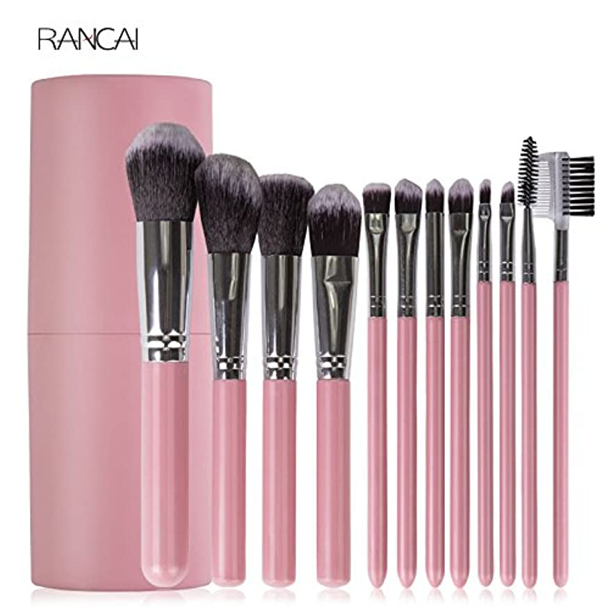 ギャングできるアノイ12pcs Pink Makeup Brushes Set Face Powder Foundation Contour Blush Eyebrow Brush & Comb Pincel Maquiagem with...