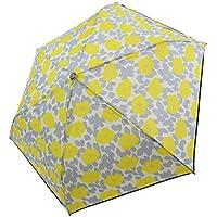 折りたたみ傘 軽量 かんたん開閉 花柄 パイピング 撥水 親骨50cm (イエロー)