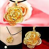 【24金貼】 総純金箔ローズペンダント 薔薇 K24 ネックレス ゴージャス フラワー