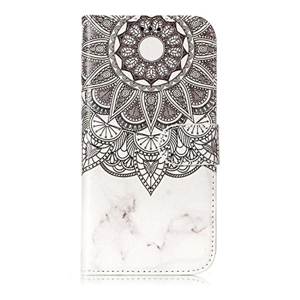 温かいオプション乗算Galaxy S7 ケース, OMATENTI 人気度 花柄 PU レザー 財布型 カバー ケース, カード収納 おしゃれ 高級感 手帳型ケース 衝撃吸収 落下防止 防塵 マグネット開閉式 プロテクター Galaxy S7 対応, 白いマンダラ
