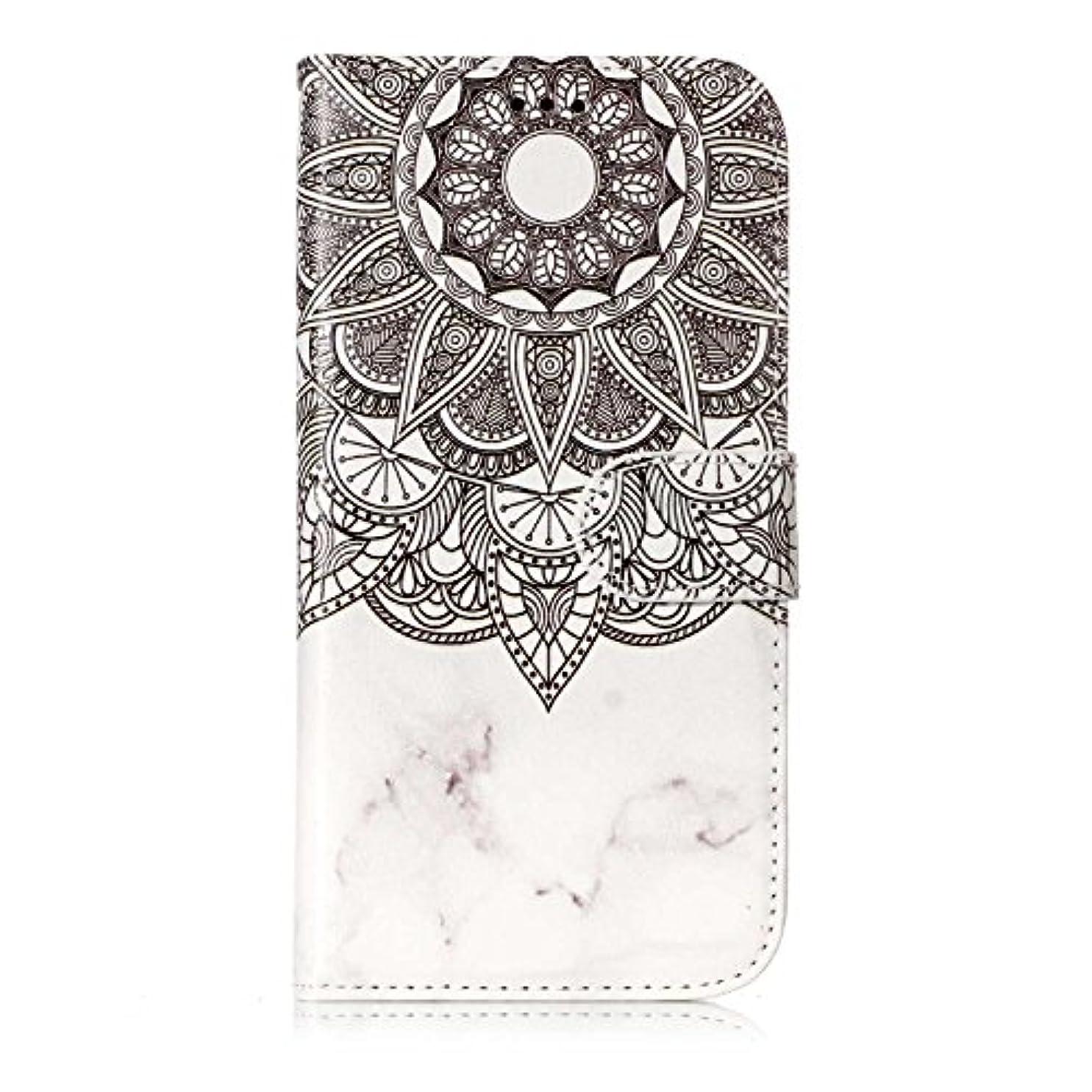 控えめな内部同等のGalaxy S7 ケース, OMATENTI 人気度 花柄 PU レザー 財布型 カバー ケース, カード収納 おしゃれ 高級感 手帳型ケース 衝撃吸収 落下防止 防塵 マグネット開閉式 プロテクター Galaxy S7 対応, 白いマンダラ