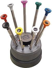 BERGEON[ベルジョン] 時計修理工具 ドライバー9本セット 回転台付き BE30081S09 正規輸入品