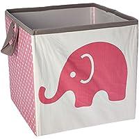 Bacati Elephants Storage Tote Basket, Pink/Grey, Small by Bacati