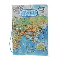 Myoffice  地図パスポートフォルダ 旅行用品、証明書カバー  パスIDカードプロテクター保護カパ スポートクレジットカード - ブルー