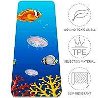 Carrozza ヨガラグ ヨガマット 滑り止め 183x61cmx0.6cm TPE 魚 くらげ 珊瑚 海藻 海 ホットヨガ 小さめ 耐久性