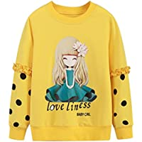 AUIE SAOSA Girls Autumn Fashion Cartoon Girls Pattern a Long Sleeved T-Shirt
