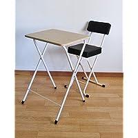 2点セット 折りたたみミニハイテーブル&折りたたみパイプ椅子 ナチュラル ホワイト ブラック hd-50175