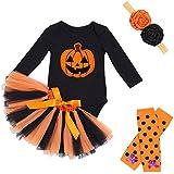 ベビー服 ハロウィン衣装 ロンパース チュールスカート コスチューム 新生児 赤ちゃん 女の子 長袖 4点セット かぼちゃ 仮装 出産祝い コスプレ 80