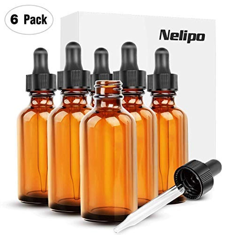 焼く歯科医化学Nelipo 2oz Amber Glass Bottles for Essential Oils with Glass Eye Dropper - Pack of 6 [並行輸入品]