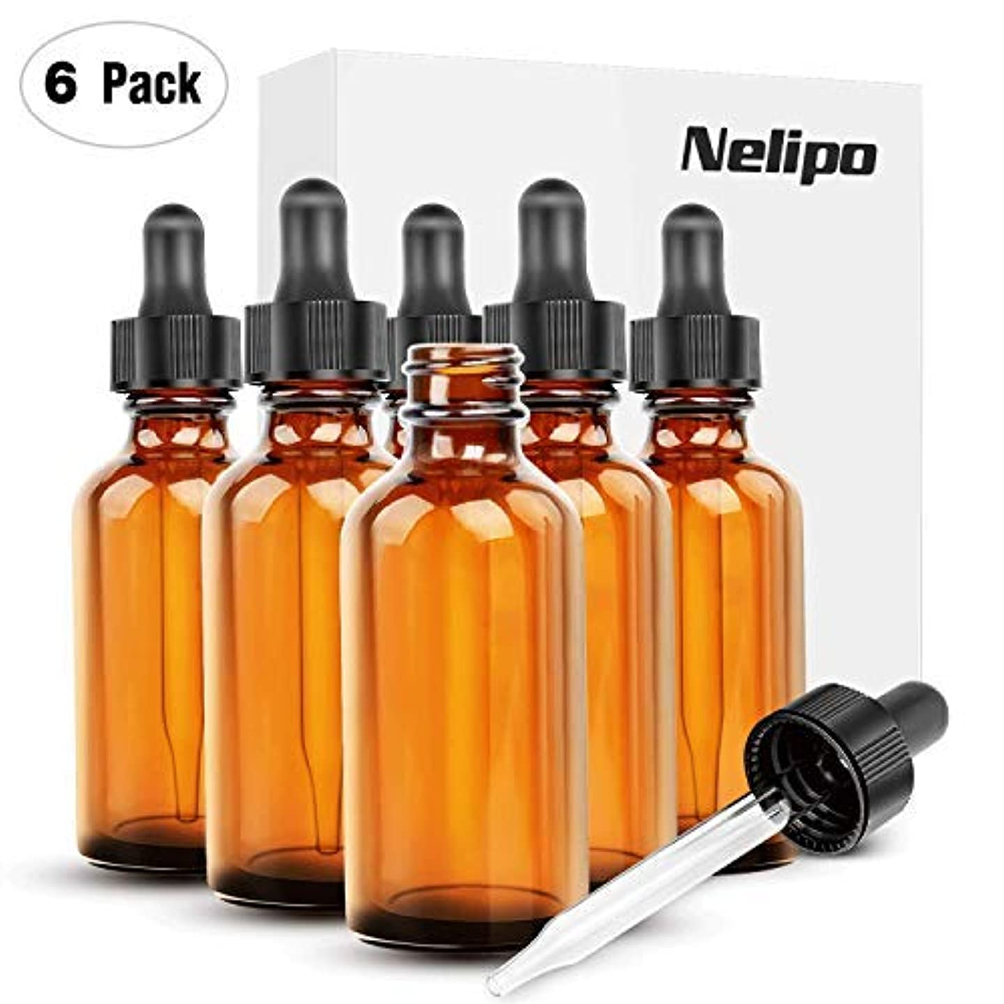 資本主義クランプ事実上Nelipo 2oz Amber Glass Bottles for Essential Oils with Glass Eye Dropper - Pack of 6 [並行輸入品]