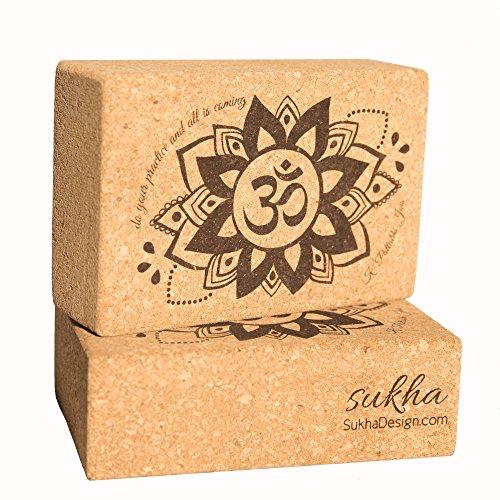 Sukha Designs天然コルク手作りとカスタム刻印ヨガブロック/レンガヨガのサポート、セットの2