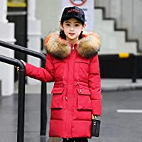 Children's Down Jacket Girl Medium Long Children's Wear Heavy Coat Large Children's New Large Fur Collar Heavy Winter Wear