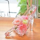 [florence du]プリザーブドフラワー バラ・カーネーションハイヒールアレンジメント ピンク ガラスの靴 花 ギフト フラワーギフト 結婚 誕生日 プレゼント シンデレラ プリンセス プロポーズ 祝い 記念日 ブリザードフラワー プレゼント