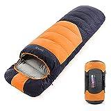 Tooge 寝袋 封筒型 冬用 二代目 快適温度-10℃〜5℃ ダウン2300g 収納袋付き 2個連結使用 (右開き, オレンジ,冬用)