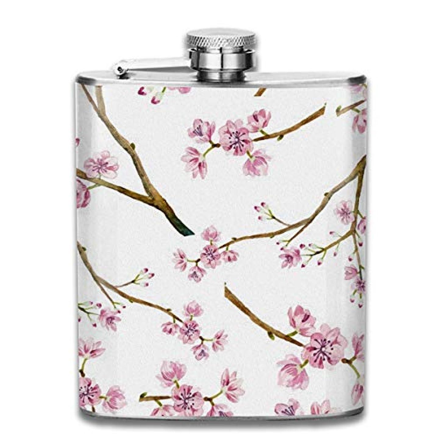 受け継ぐ文言無傷桃花 桜の花フラスコ スキットル ヒップフラスコ 7オンス 206ml 高品質ステンレス製 ウイスキー アルコール 清酒 携帯 ボトル