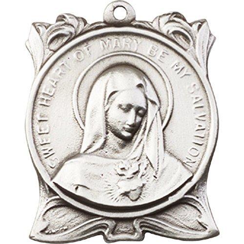 アンティーク銀メッキImmaculate Heart of Mary Keychain 1 1 / 4 x 7 / 8インチ