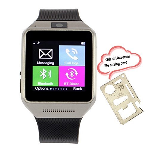 RC GV08 Smart Bluetooth Watch Phone with 1.5'' Touch Screen 1.3MP camera Supports SIM Card Sync SMS Phone Book Call History for Android Samsung Galaxy S5/S4/S3 Samsung Galaxy Note 3/2 LG G3/G2 Motorala Moto X/G OnePlus One+ A0001 Huawei P6 Cell phones(Black) [並行輸入品]