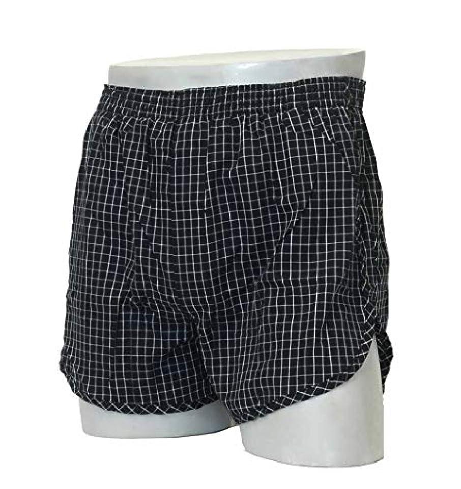 販売員側面ベアリングトランクス80 安心トランクス 80cc 日本製 綿100% 布帛 肌にフィット 消臭 5層構造 (ブラック, L)