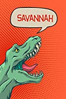 """Savannah: Personalized Dino Isometric DOT Paper notebook 120 pages 6""""x9"""""""