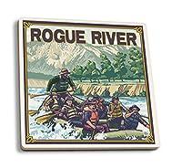 White Water Rafting–Rogueオレゴン川、) 4 Coaster Set LANT-13657-CT