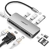 USBハブ Type-C HUB UGREEN USB Cハブ HDMI 有線LAN USB3.0 3ポート SD TF カードリーダー Thunderbolt3 PD充電 セルフパワー対応 9in1 USB-C 変換 Macbook Pro 2017 2016に適用