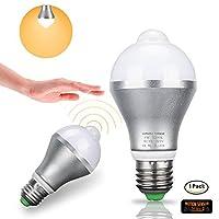 人感センサー電球 5W E27/E26 スマート PIR LED電球 自動オン/オフ 夜間照明 階段/ガレージ/廊下/通路/庭/玄関/テラス/カーポート用 HMMS-001