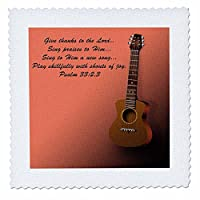 3droseクラシックギターと聖書詩Sing to the Lord a New Song–キルト正方形、12× 12インチ( QS _ 22654_ 4)