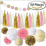 Yasuraka 誕生会 飾り付け 装飾 ペーパーフラワー タッセル 白 象牙 金 ピンク お子様と一緒に楽しみながら