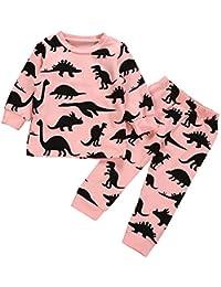 Racazing キッズ 幼児 子供服 ブラック 恐竜公園 ホームサービス 上下2点セット 長袖+ズボン赤ちゃん服 パジャマ カジュアル かわいい ことわざ風 ボトムシャツ 可愛い キャンパス 3ヶ月~24ヶ月
