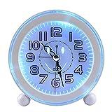 GLODEALS 目覚まし時計 LED夜光音楽 アラームクロック 笑顔発光時計 連続秒針 超静音 スヌーズ機能 照明ライト付き置き時計 電池式 小型丸型 (white)