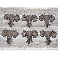 アンティーク レプリカ 鋳鉄 象の頭 シングルフック 壁装飾タオル 6個