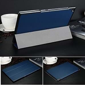 xperia z2 tablet ケース レザー エクスペリアz2 タブレット カバー docomo SO-05F/au SOT21対応 2つ折 手帳型 軽量/薄/革 ブックカバー ケース ソフトケース/ソフトカバー ジャケット 保護ケース/保護カバー プロテクターZ2-TABLET-BE-W40605 (ブルー)