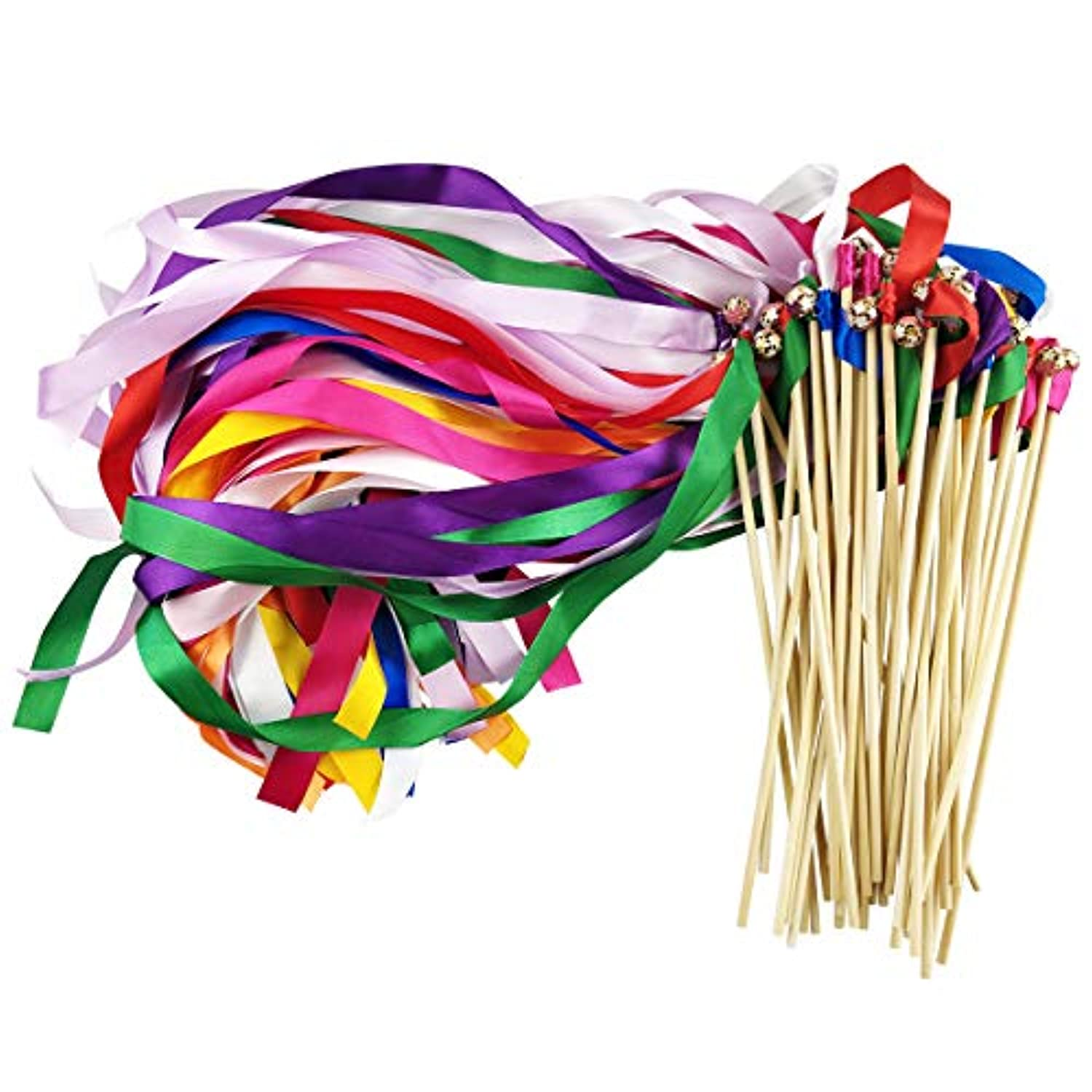 Cieovo Pack of 50 Silk Ribbon with Bells Streamers Wands Fairy Stick Mix Colour for Baby Shower Holiday Celebration Wedding Christmas Birthday Party