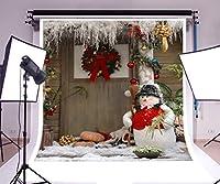 laeacco 10x 10ftビニール写真背景Merry Christmasフロントドア子フォトシューティングかぼちゃ花Wreath木製ドアキュート雪だるまホームパーティー祭3( W ) x3( H ) Mフォトスタジオ小道具