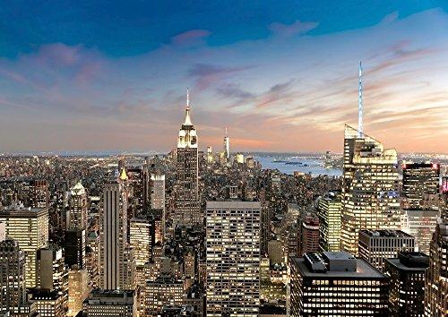 [해외]회화 풍 벽지 포스터 (벗길 스티커 식) 맨해튼의 야경 뉴욕 석양 AT 캬라쿠로 NYK-102A1 (A1 판 830mm × 585mm) 건축 배경 화면 + 내후성 도료/Painting style wallpaper poster (peeling seal type) Night view of Manhattan Night sunset of New ...