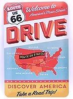 【アメリカ雑貨】ブリキ看板 【US ROUTE66】DRIVE レトロ看板 30cm×20cm アルミデザインボード プレート [並行輸入品]