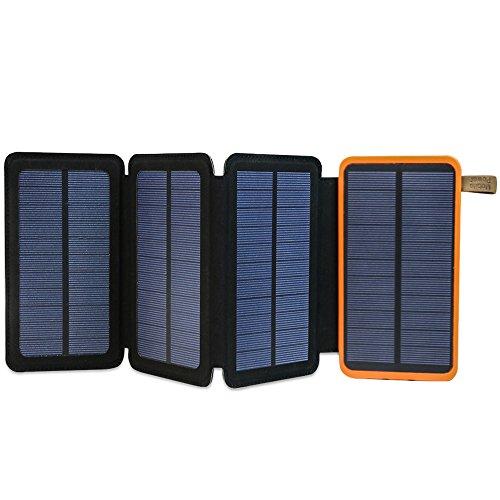 ソーラーチャージャー X-DRAGON モバイルバッテリー 大容量 (10000mAh 2USB出力ポート 2.4A 4枚 ソーラーパネル 折りたたみ LEDランプ搭載 Qpower急速充電) ポータブル充電器 防水 防塵 耐衝撃 iPhone iPad Galaxy カメラ タブレット等 ソーラー充電器 (オレンジ)