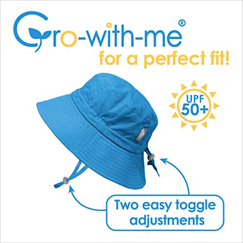 JAN & JUL Girls Breathable Cotton UV Protection Sun-Hat, Adjustable Chin-Strap, Baby and Kids - - S: 0-6m