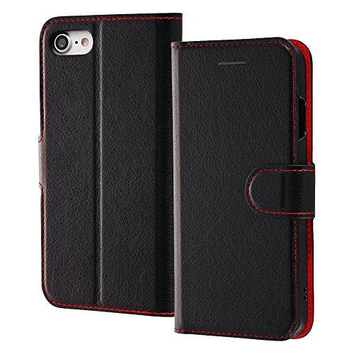 レイ・アウト iPhone8 / iPhone7 ケース 手帳型 シンプル マグネット ブラック/レッド RT-P14ELC1/BR