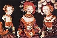 手描き-キャンバスの油絵 - Saxon Princesses Sibylla Emilia And Sidonia Lucas Cranach the Elder 芸術 作品 洋画 ウォールアートデコレーション -サイズ11