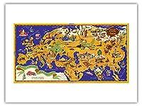 世界地図 - ショコラムニエ - フランスのチョコレート会社 - キャピタルズのツアー - ビンテージな世界旅行のポスター によって作成された J.B. ジャノー c.1956 -プレミアム290gsmジークレーアートプリント - 46cm x 61cm