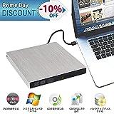 外付けDVDドライブ 外付光学式ドライブ Mac CD DVDドライブ 薄型ポータブル CD/DVD読取・書込 DVD±RW CD-RW USB3.0/2.0 Window/Mac OS両対応 高速 静音 アルミニウム合金(シルバー)