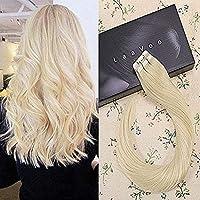 LaaVoo 20 50g/20pcs Tape Human Hair PU Extensions Remy Straight Human Hair Tape in Extensions Platinum Blonde Color #60 [並行輸入品]