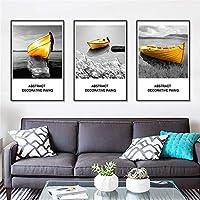 壁絵 壁掛 ウォールアート黄色のボート黒と白の写真のためにリビングルームのインテリア3つの小品額入りキャンバス地の写真 背景絵画 壁アート (Color : 3 Panels, Size : 30x40cm)